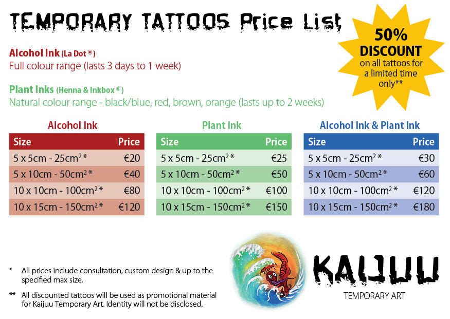 Temporary Tattoo Price List